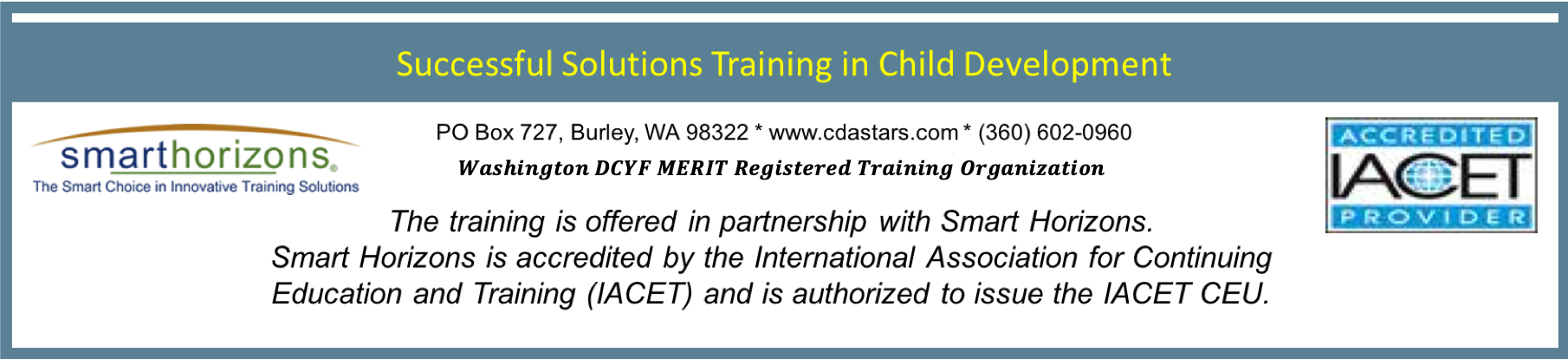 Washington State Approved Child Care Classes-Early Childhood Training